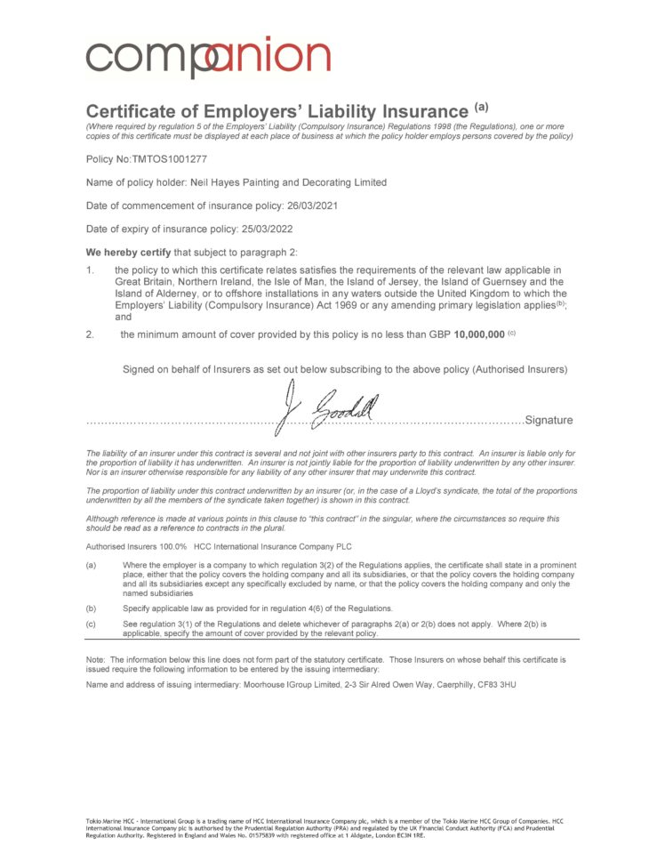 Employers Liability Insurance Certificate March 2021 to March 2022