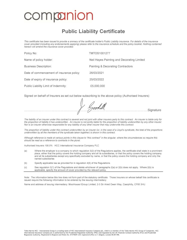 Public Liability Insurance Certificate to March 2021 to March 2022